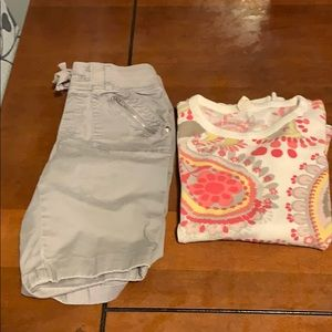 Girls shorts and LS shirt. Size 12